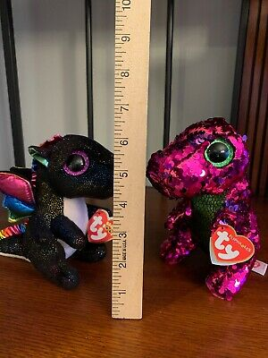 """Ty Flippables 7/"""" Stompy the Pink /& Purple Dinosaur Color Changing Sequin Plush"""