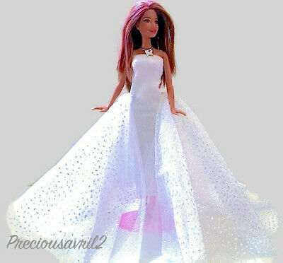 New Barbie doll clothes outfit wedding dress formal white sparkle evening gown