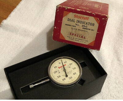 "Starrett No 25-C Special Dial Indicator 0-50-0 Grad. .0001""  used at NASA"