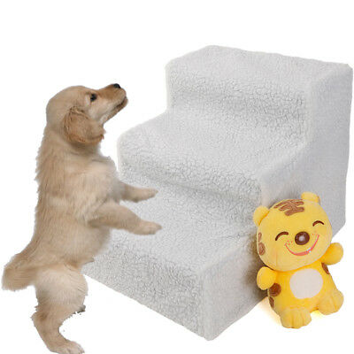 Soft Pet Stairs & Ramp Cat Step Bed Ladder Dog Stair Sofa White