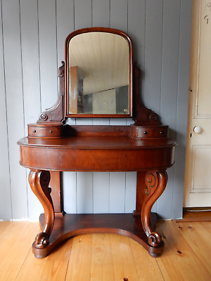 Antique Victorian 1880's Mahogany Dressing Table & Mirror Drawers Cabriole Legs