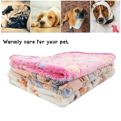Warm Soft Pet Mat Paw Print Cat Dog Puppy Fleece Blanket 2 Bed Size Cushion A7F0