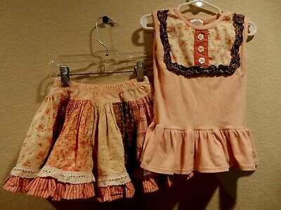 Girls Persnickety Outfit Ruffle Tiered Patchwork Skirt sz 3 Top Shirt Sleeveless