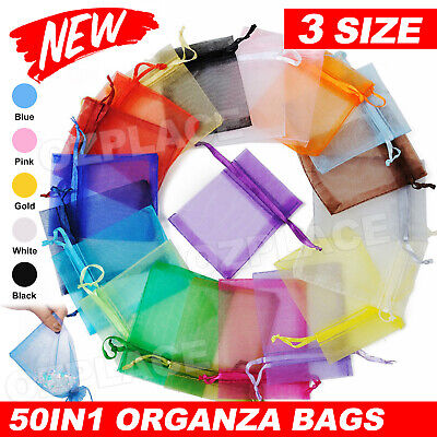 Upto100x 3 Size Organza Bag Sheer Bags Wedding Candy Party Jewellery Packaging
