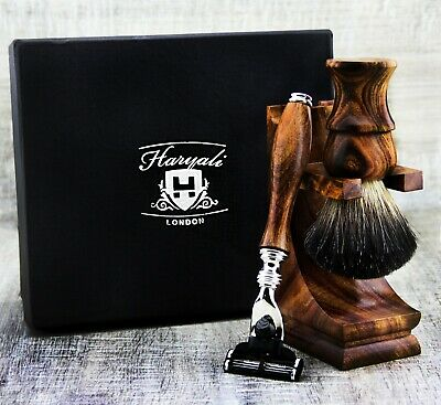 Stunning Wooden Hair Remove Shaving Kit with Brush and Safety Razor & Wood Stand