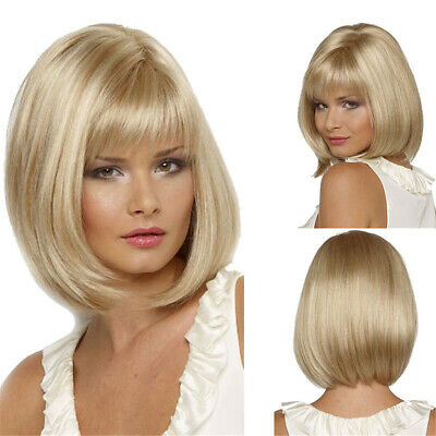 Womens Ladies Blonde Bob Short Straight Synthetic full Hair Wig Party Cosplay