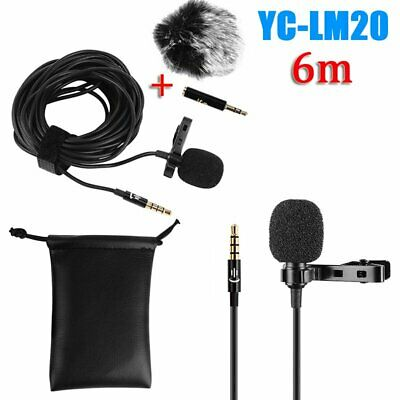 YC-LM20 6m Clip-on Lapel Lavalier Microphone 3.5mm Mic For iPhone Samsung Audio
