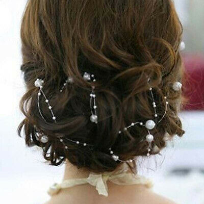 Chic White Pearl Studded Wedding Party Bridal Headpiece Headdress Hairband 130CM