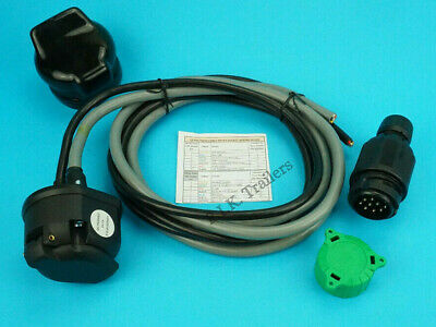 Pre-wired 13 Pin Socket with 2 x 7 Core Cable 13 Pin Plug Conversion for Caravan