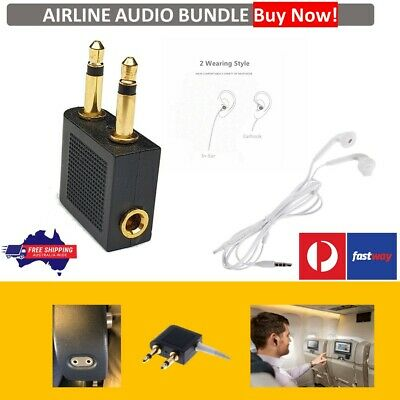 Airplane Airline Headphone Gold Plated Adapter For Audio Jack 2 Plug Air Plane
