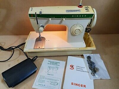Vintage Singer 247 Sewing Machine With Case & Instructions