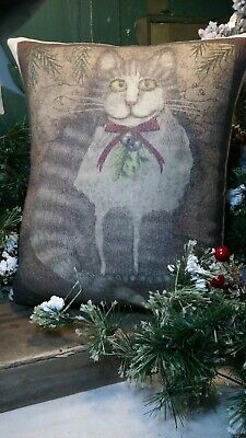 Cute Whimsical Primitive Vintage Folk Art Cabin Farm Christmas Cat Winter Pillow