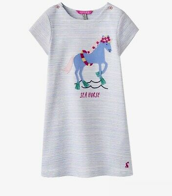 BNWT Baby Girls Joules Sea Horse Blue Stripe T Shirt Dress Age 6 Year