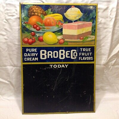 Advertising Tin Litho Sign Dairy Ice Cream Brobe Co. Fruit Flavors
