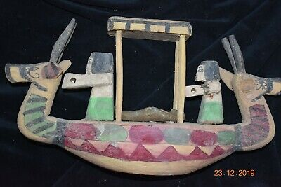 """Sale!! Egyptian Crypt Wood Funeral Boat, Mummy, Priests 12"""" Prov"""