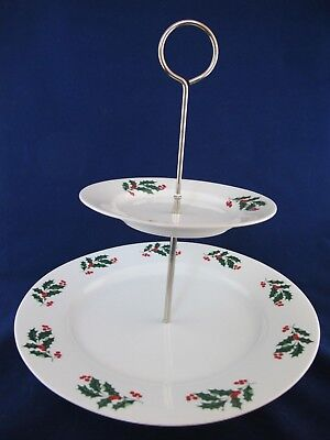 2 Tiered Holiday TIDBIT SERVER, Christmas TRAY, Red & Green Holly Berries in Box