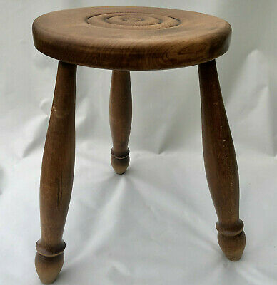 Vintage French 3 Legged Milking Stool With Turned Wood Legs & Turned Round Seat