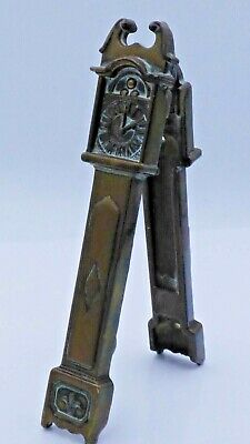 Vintage/Antique Art Deco Solid Brass Grandfather Clock Door Knocker 14cms
