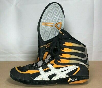 ASICS Pursuit II (P2) Wrestling Shoes Size 11 Black Marigold Silver Rare