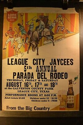 1960's League City Jaycees Parada Del  RODEO Poster Lone Star Beer Sponsored