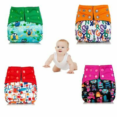 Reusable Bamboo Charcoal Washable Cloth Baby Diaper Cover Wrap Pocket Nappy