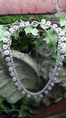Victorian Solid Sterling Silver Star Motif Book Chain Necklace