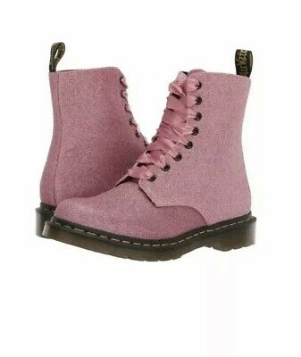 Dr Martens 1460 Boots Pink Glitter UK 3 New Vegan Sparkly Pascal Girls Ankle Box