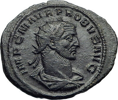 Probus  receiving globe from Jupiter Authentic Ancient  Roman Coin i42270