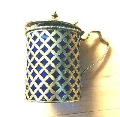 Sterling Silver Cobalt Glass Inside Lidded Mustard Pot Beautiful