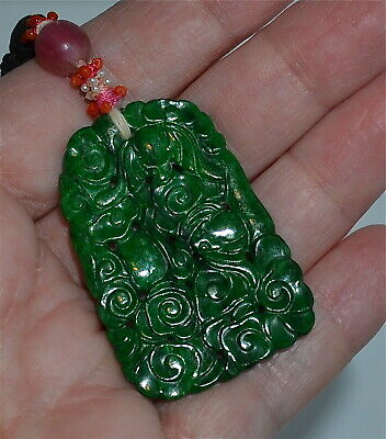 Old Chinese Intricately Carved Jade Pendant on Cord Coral Seed Pearls
