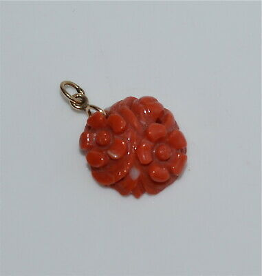 Old or Antique Chinese Carved Coral and 14 Kt Gold Pendant