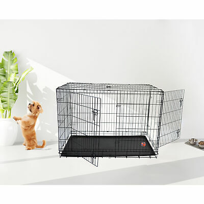"36"" 42"" 48"" XXL 2 Doors Suitcase Folding Dog Cat Pet Crate Cage Kennel w/Tray US"