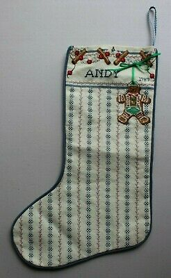 "Gingerbread Cristmas Garland Stocking ""Andy"" Cross Stitch Complete Finished"