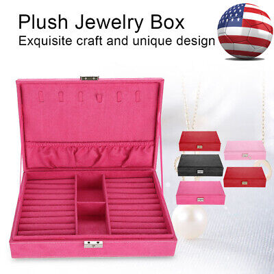 Velvet Ring Necklace Box Jewelry Organizer Storage Rings Display Case Holder