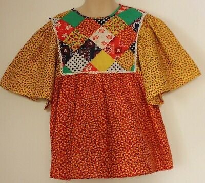 VINTAGE 1970'S MISS FREIDELLE ~ Girls Cotton Boho Folk Patchwork Look Blouse 10