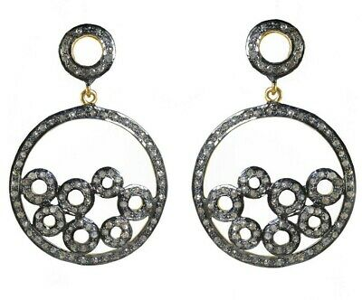 Victorian Antique Style Pave Diamond Round Earring 925 Silver Gift Jewelry VE144