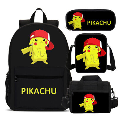 Wholesale Pokemon Pikachu School Backpack Insulated Lunch Bag Sling Bag Pen Case