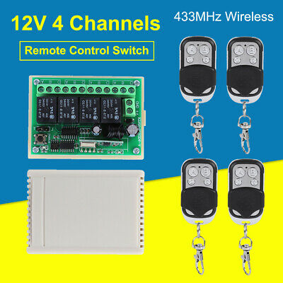 Wireless 4-way Remote Control Switch DC 12V 10A 433MHz Transmitter with Receiver