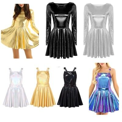 Sexy Women's  A-line Pleated Skirt Evening Party Mini Dress Rave Party Dancewear