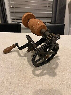 Antique Bench Stone Grinder; Hand Sharpener Tool; Collectable; Grinding Wheel