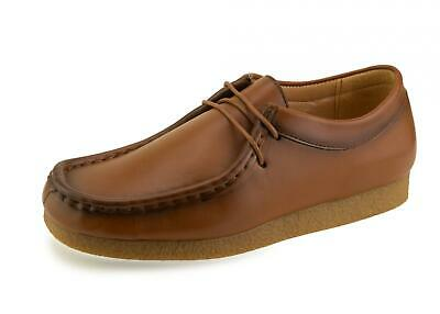 New Boys Girls Leather Tan Brown School Smart Formal Lace Up Shoes UK 3 4 5 6 7