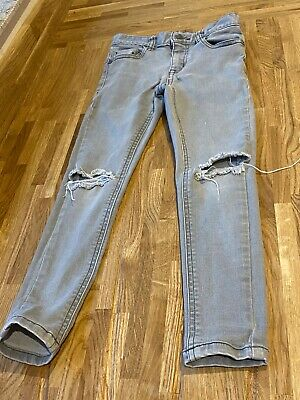boys next age 7 super skinny stretch jeans grey with ripped knee trendy/skater