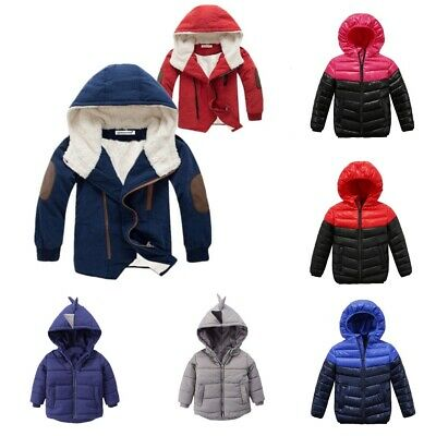 Long Sleeve Winter Jacket For Boys Children Hooded Warm Outerwear Coat Clothing