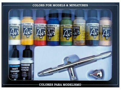 VALLEJO Model Air Basic Colors (10) And Airbrush NEW Paints Miniatures