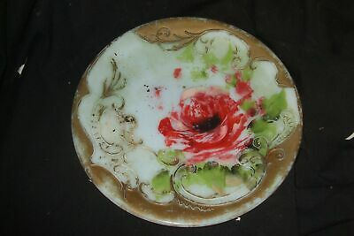 Unusual Hand Painted Milk Glass Plate Vintage Antique B64