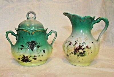 Antique Molded German Porcelain Cream Pitcher+Covered Sugar Bowl early 20th Cent