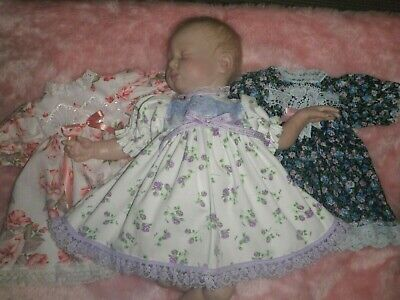 Craftymals   3 Sweet Little Dresses For  Reborn Dolls  19 - 22  Inches