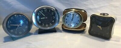 Lot 4 Vintage Westclox Baby Ben Travel Ben Wind Up Alarm Clocks USA Made VGVC