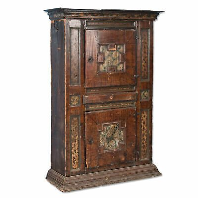 Antique Armoire Cupboard With Original Brown Paint Dated 1721, Sweden