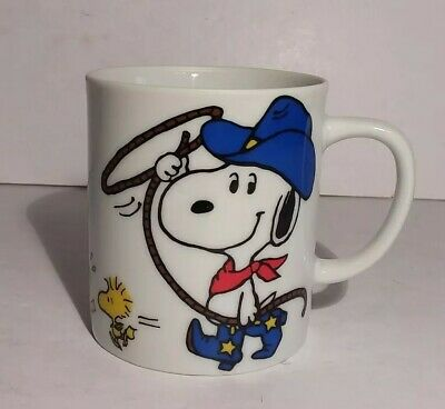 Peanuts Snoopy Cowboy Get Along Little Dogies Woodstock Mug Cup 10 Oz